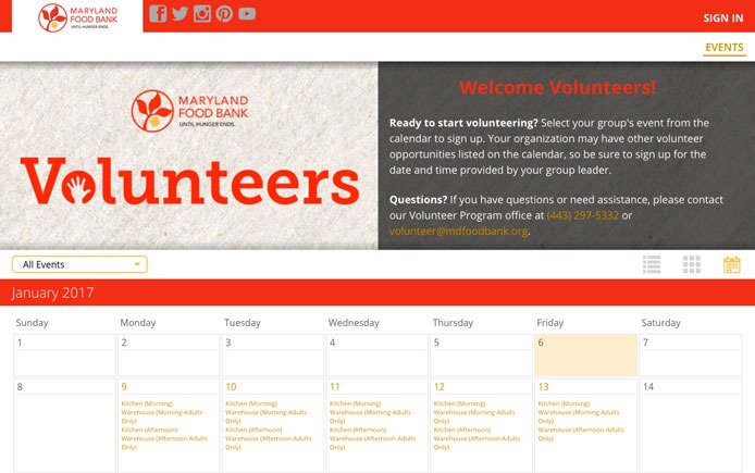 Maryland Food Bank's VolunteerHub portal